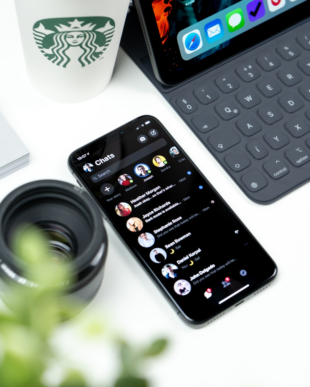 turned-on Android smartphone