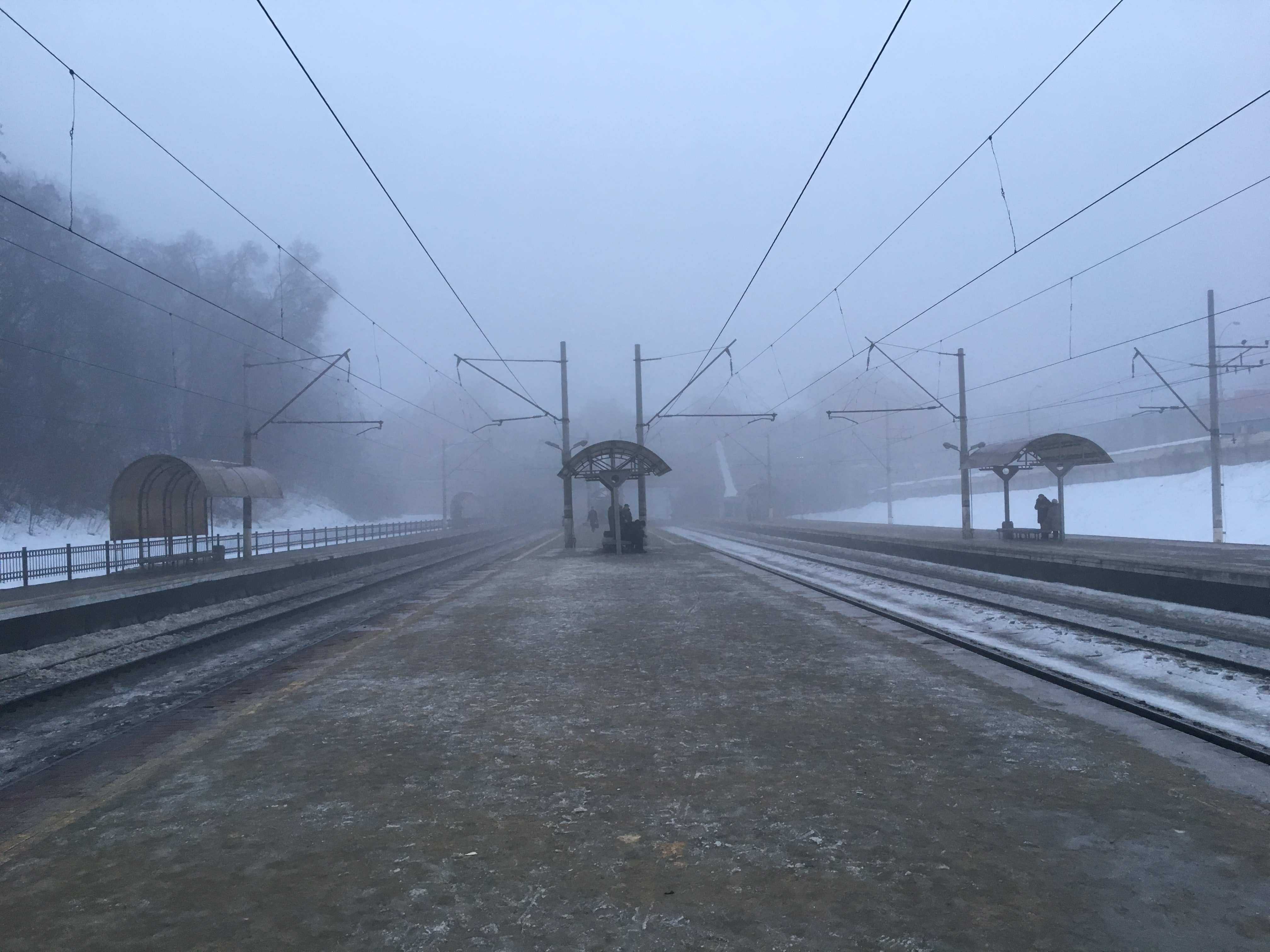 railway on foggy weather