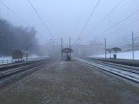 railway on foggy weather