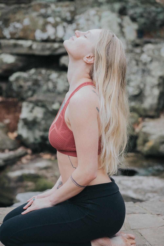 woman wearing red bras