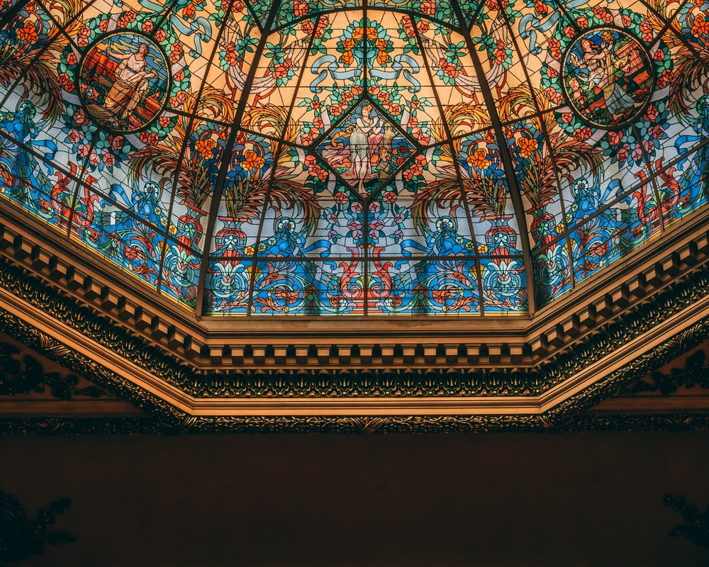 blue and green glass ceiling