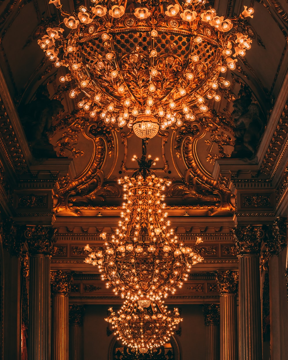yellow chandelier