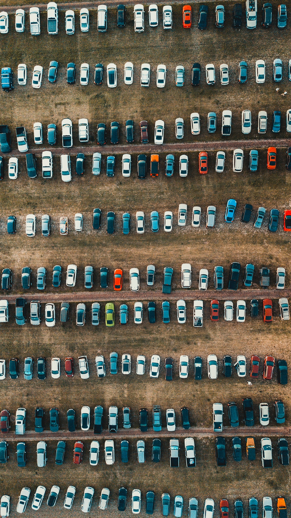aerial view of cars on park during daytime