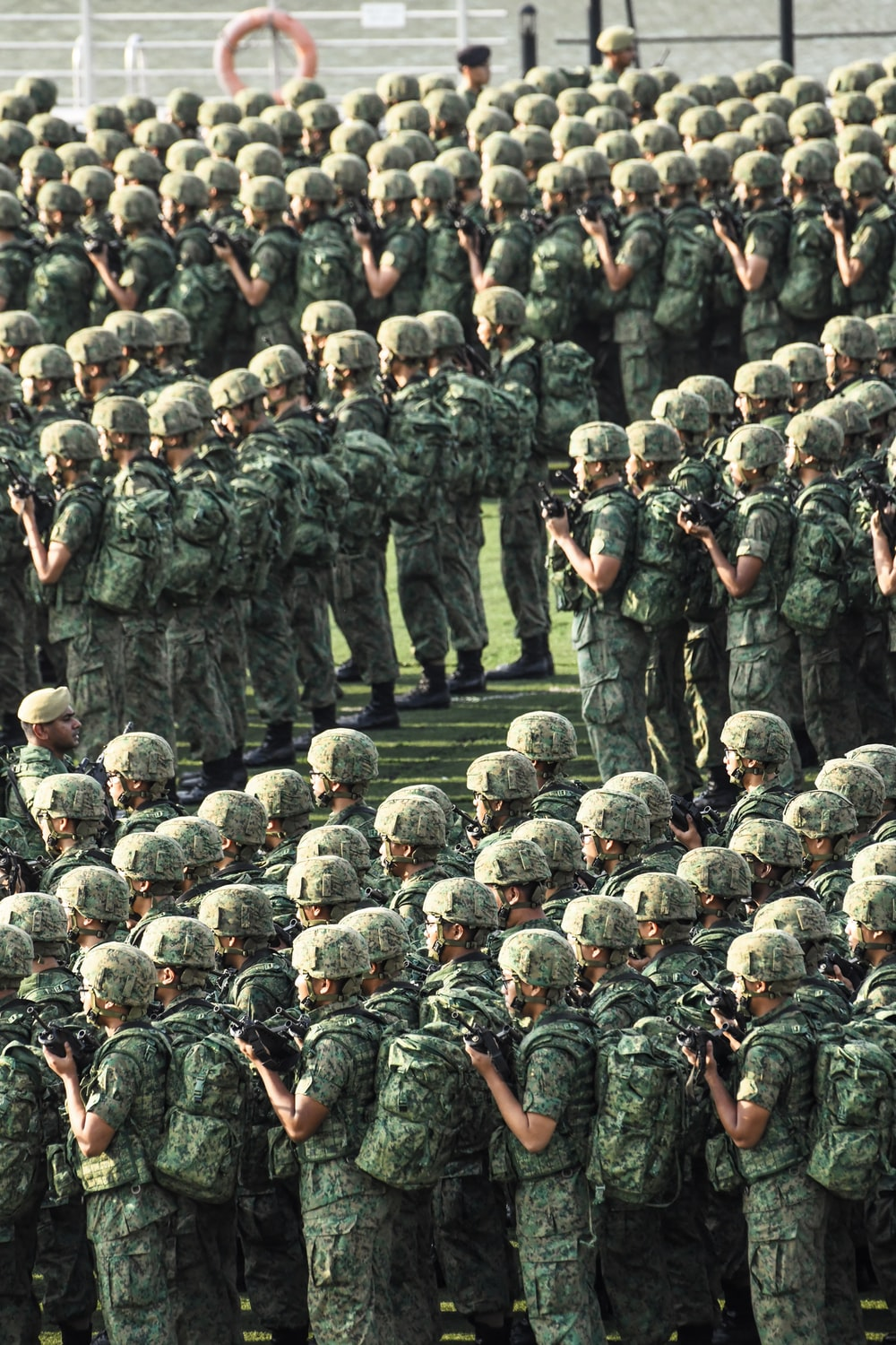 soldiers standing aligned together