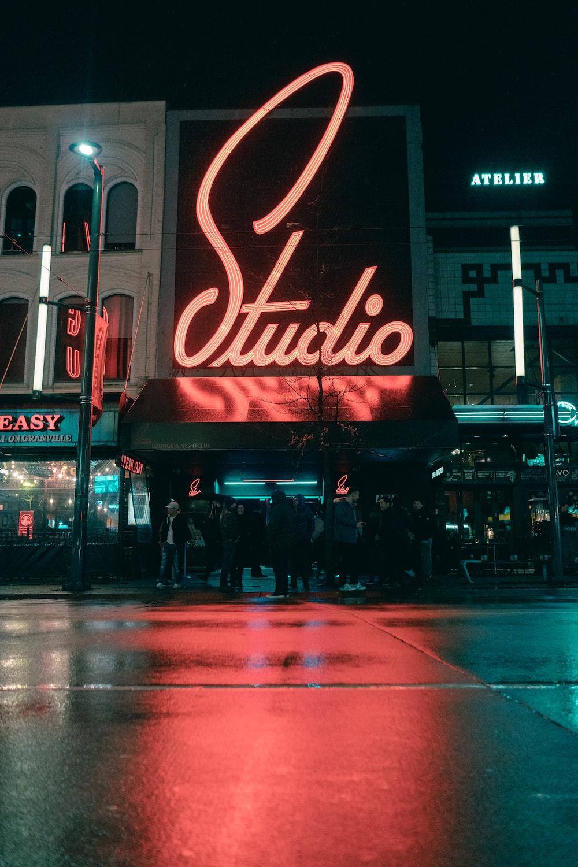 Studio led signage on building turned on