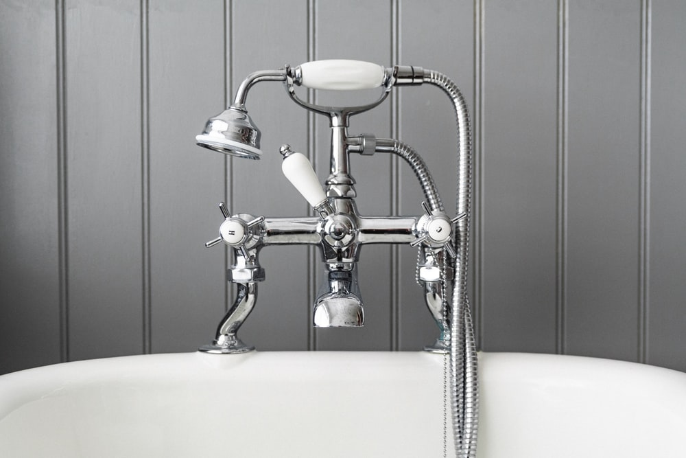 gray stainless steel bathtub faucet