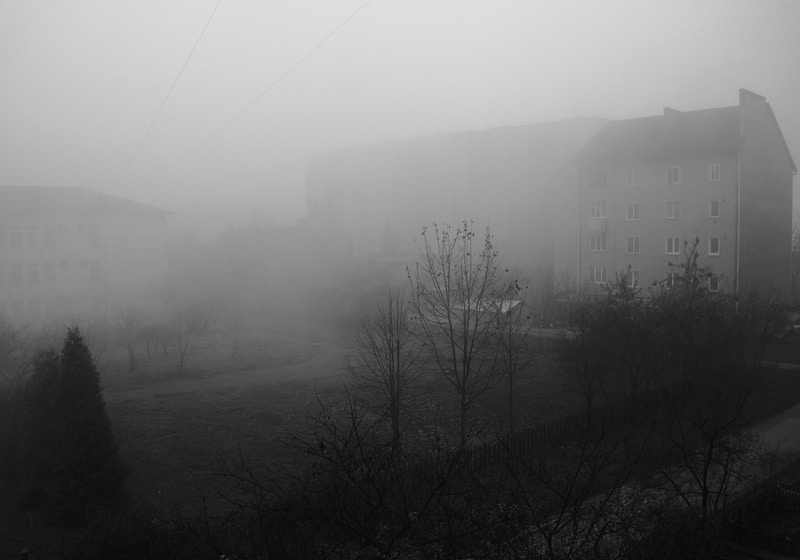gray house covered with fogs