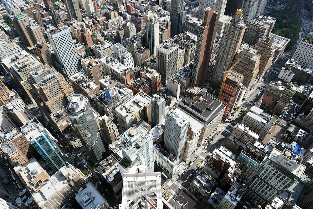 aerial photography of high-rise buildings