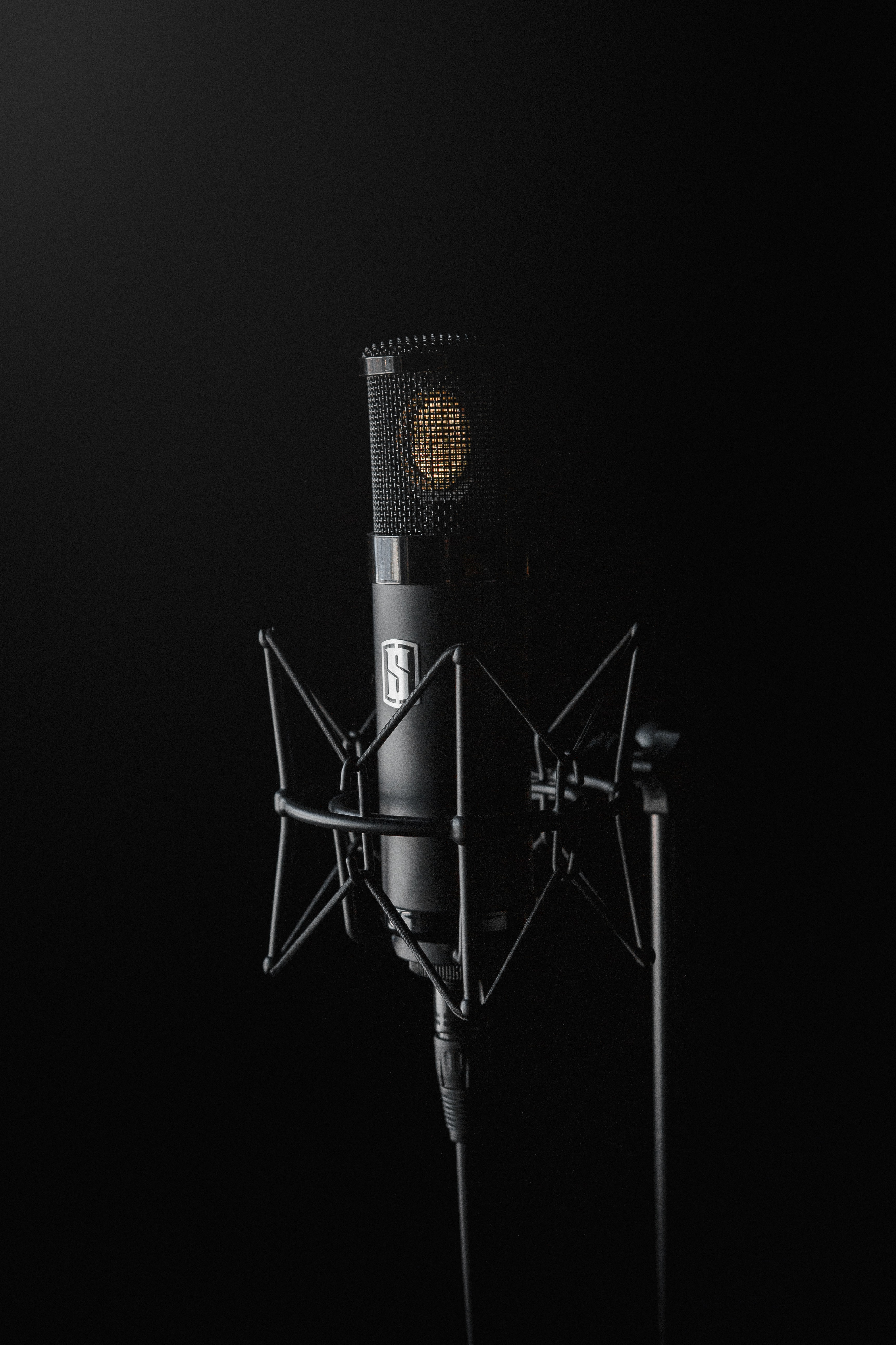 black condenser microphone on black background