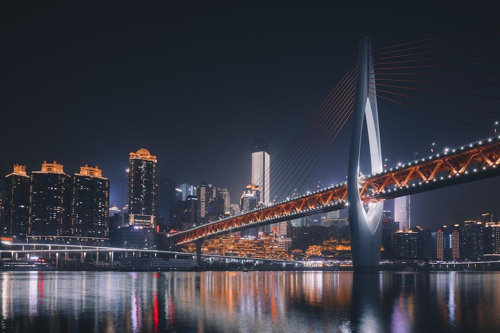 brown suspension bridge