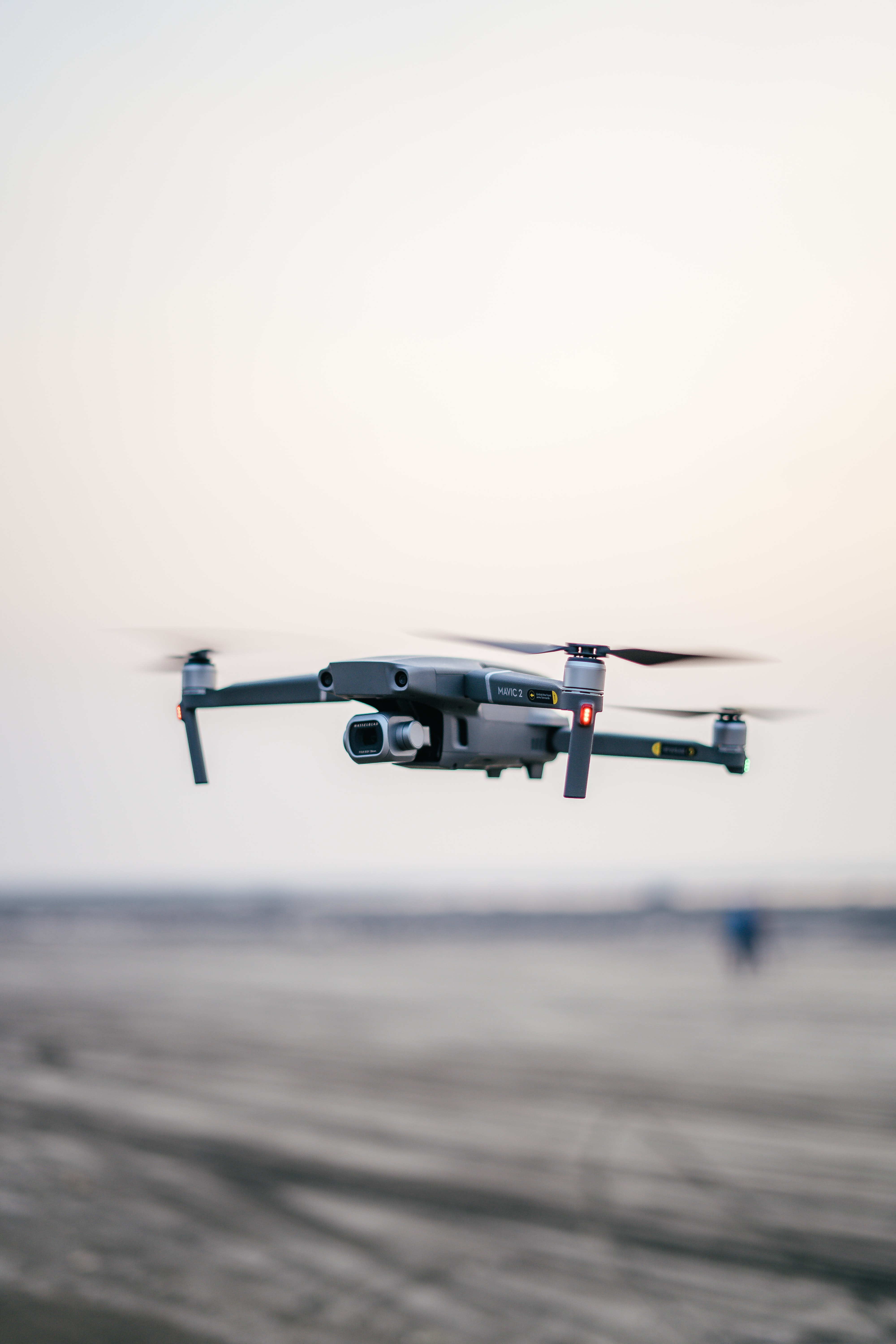 drone flying above the ground
