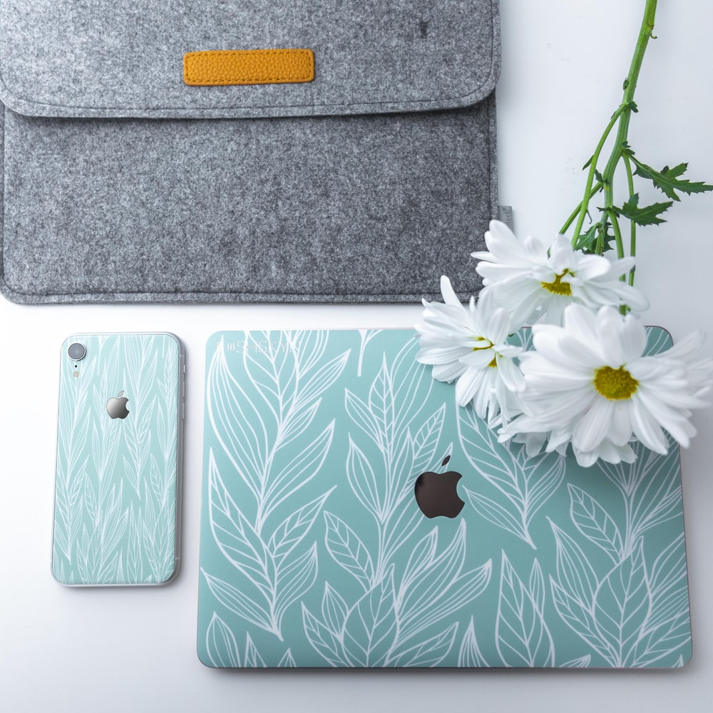 teal and white floral iPhone and iPad case set