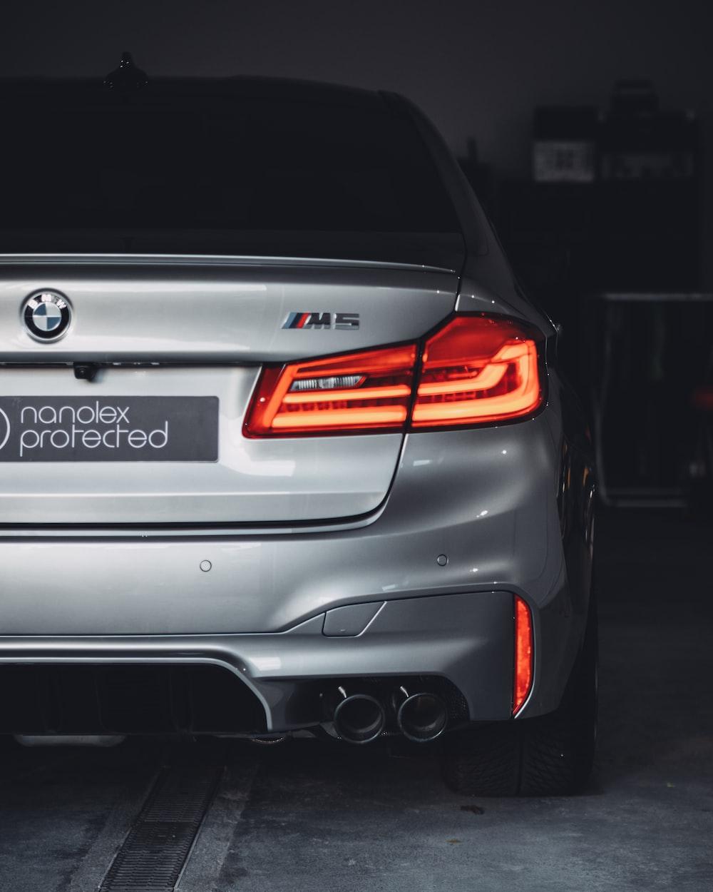 grey BMW M5 sedan
