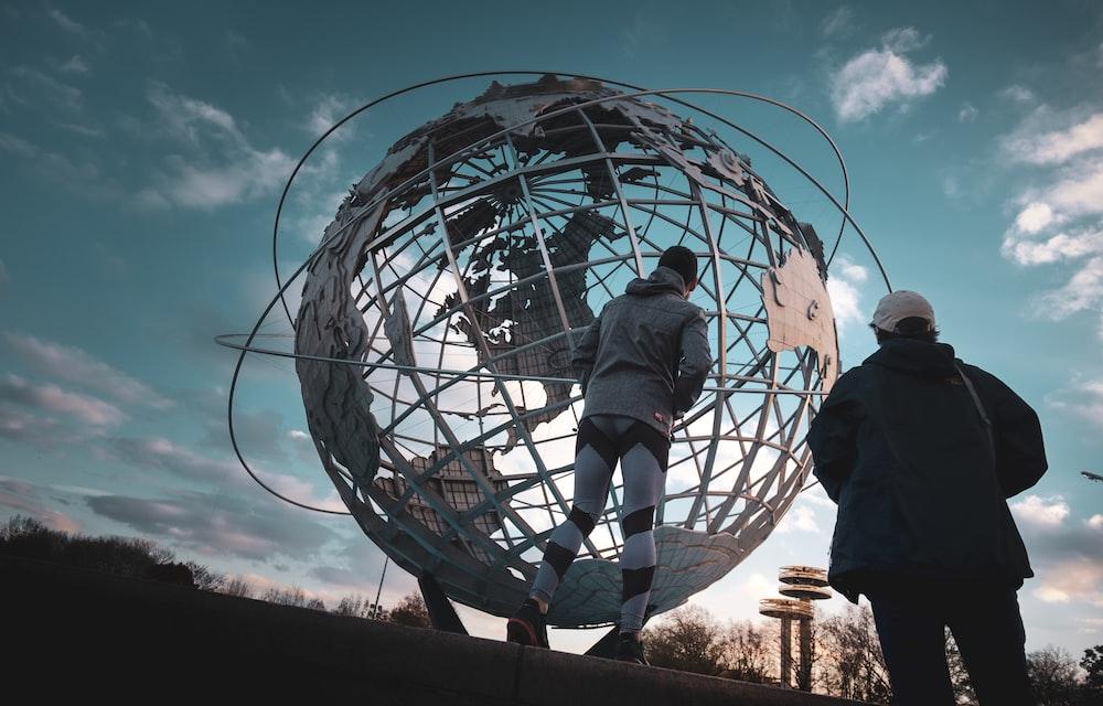 gray globe landmark