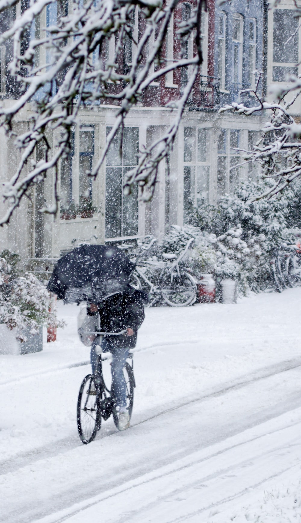 person in black jacket driving bicycle holding black umbrella under snowy weather