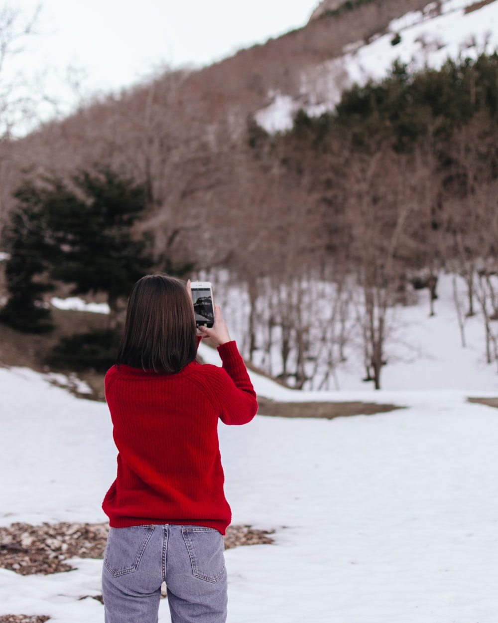 woman taking photo of leafless trees