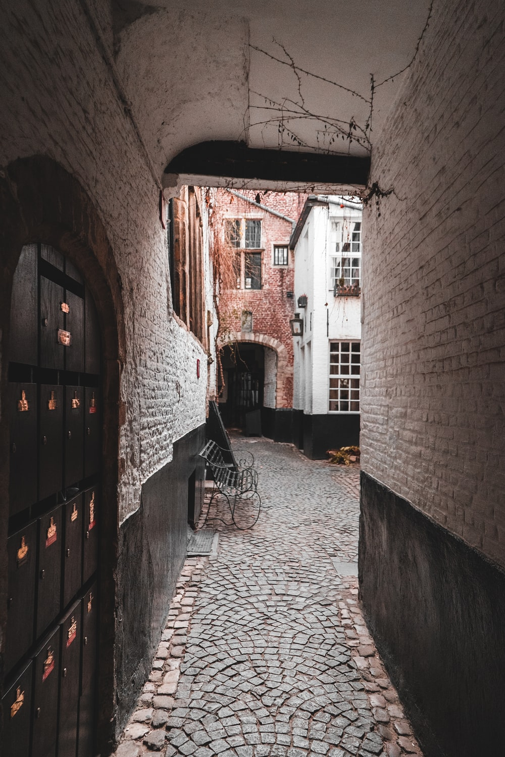 empty alley with lockers
