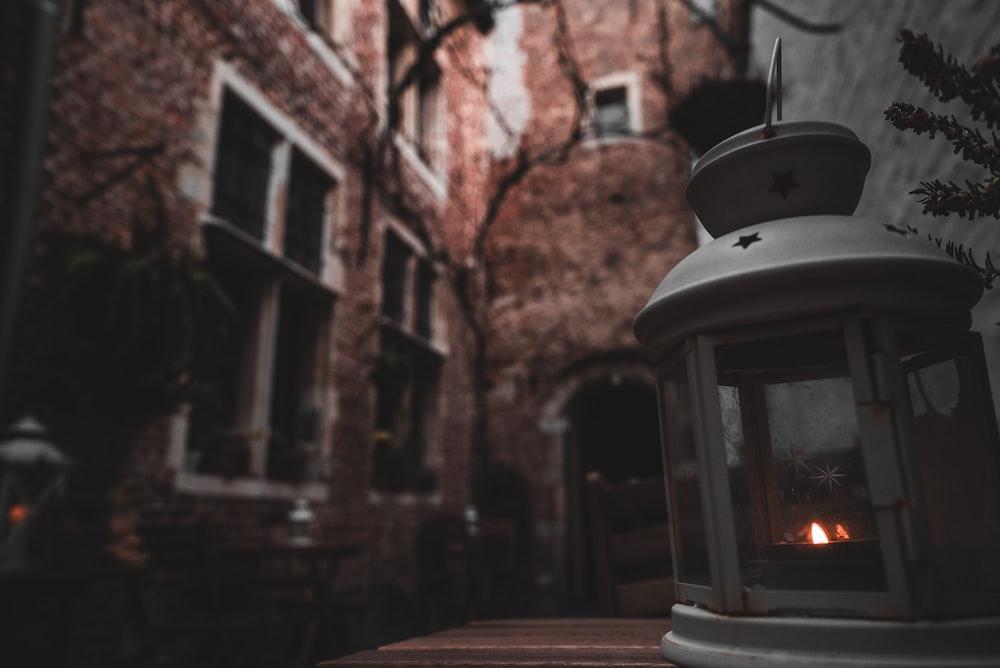 gray kerosene lantern