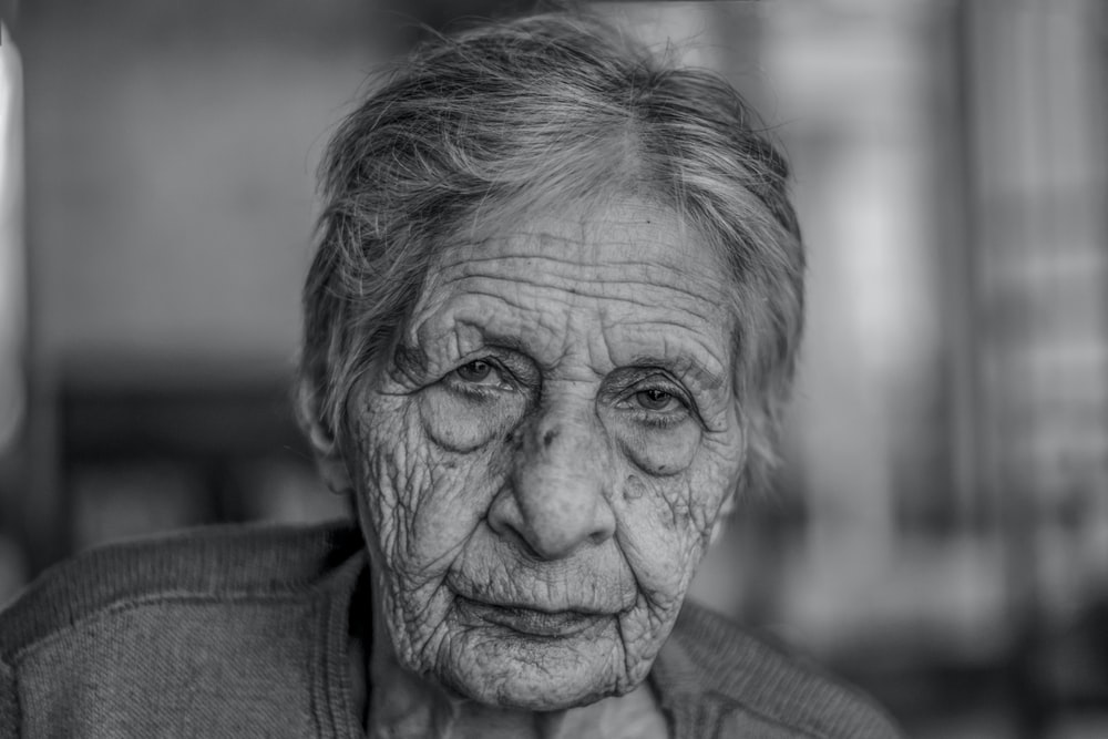 old woman in grey shirt