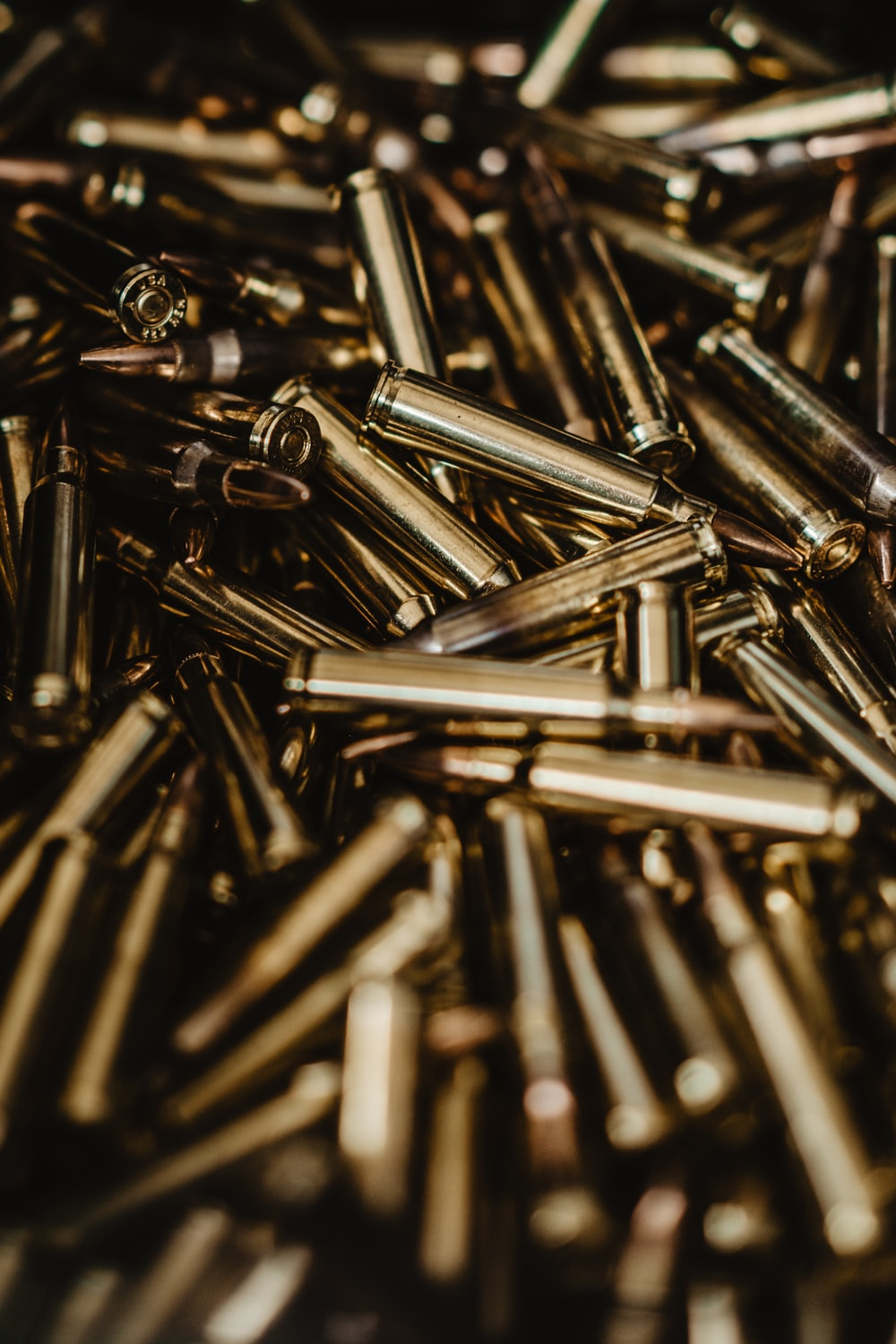 close-up photography of rifle bullets