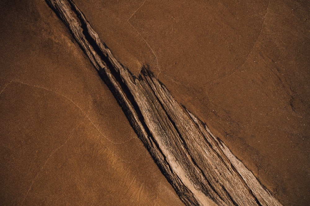 aerial photo of brown land