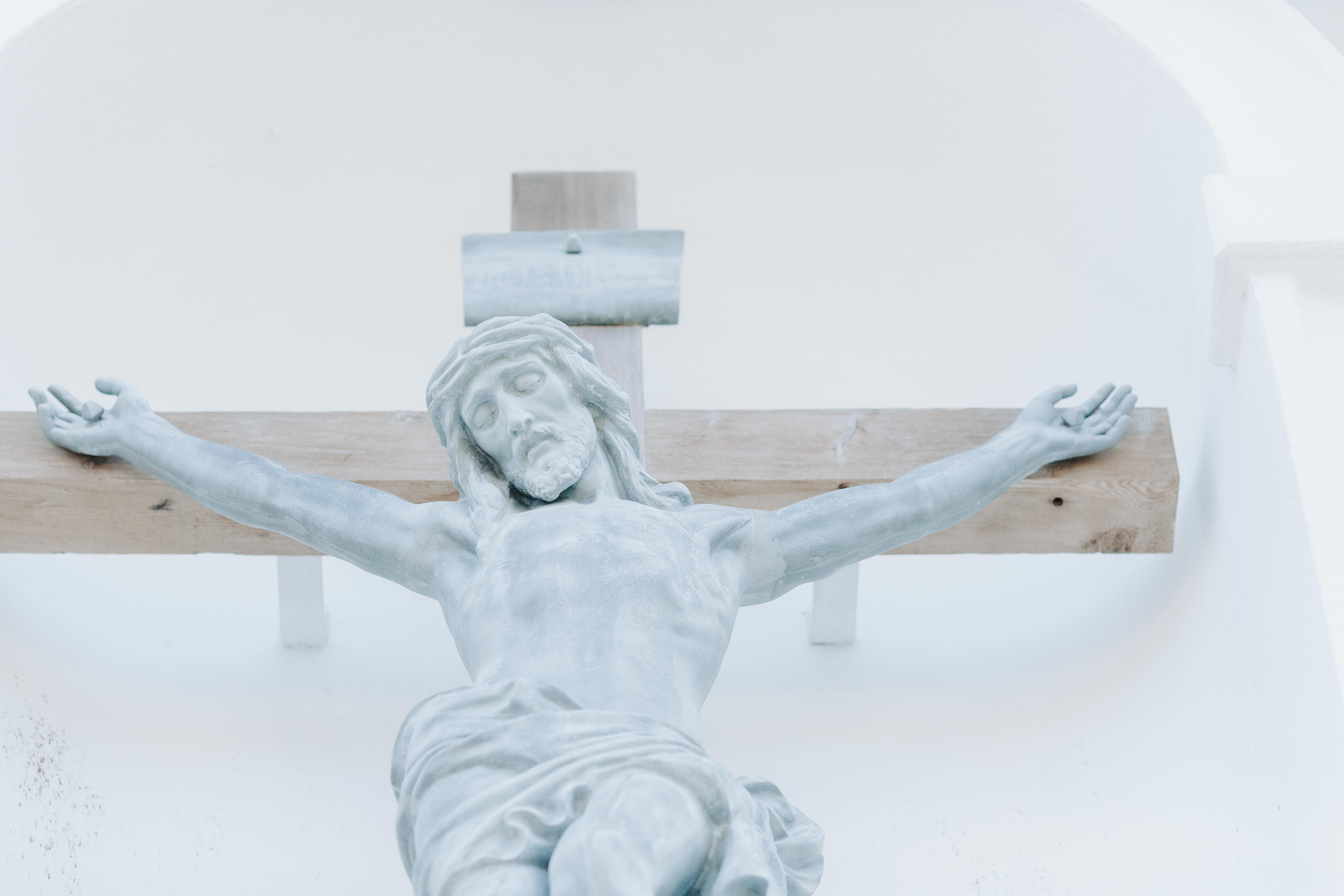 low angle photography of crucifix