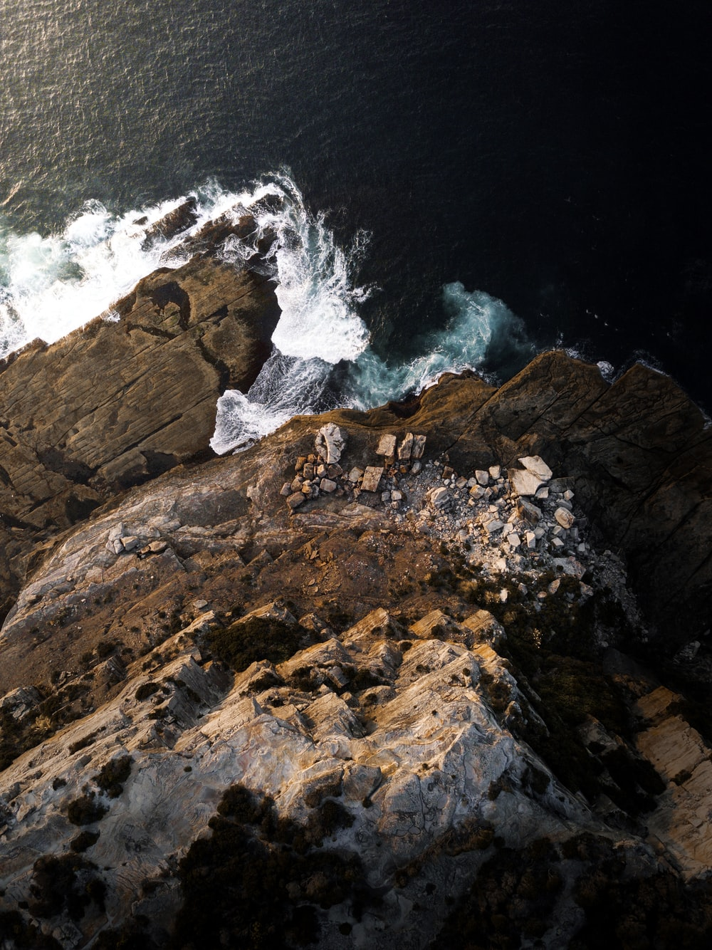 high angle photography of cliff