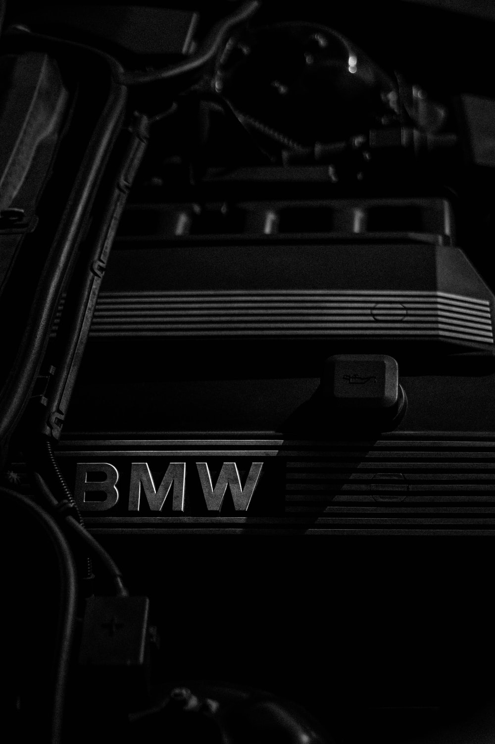 grayscale photography of BMW emblem