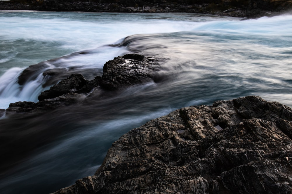 long exposure photography body of water