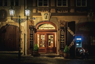 closed restaurant door log home zoom background