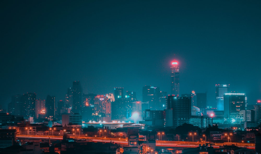 view of cityscape at night