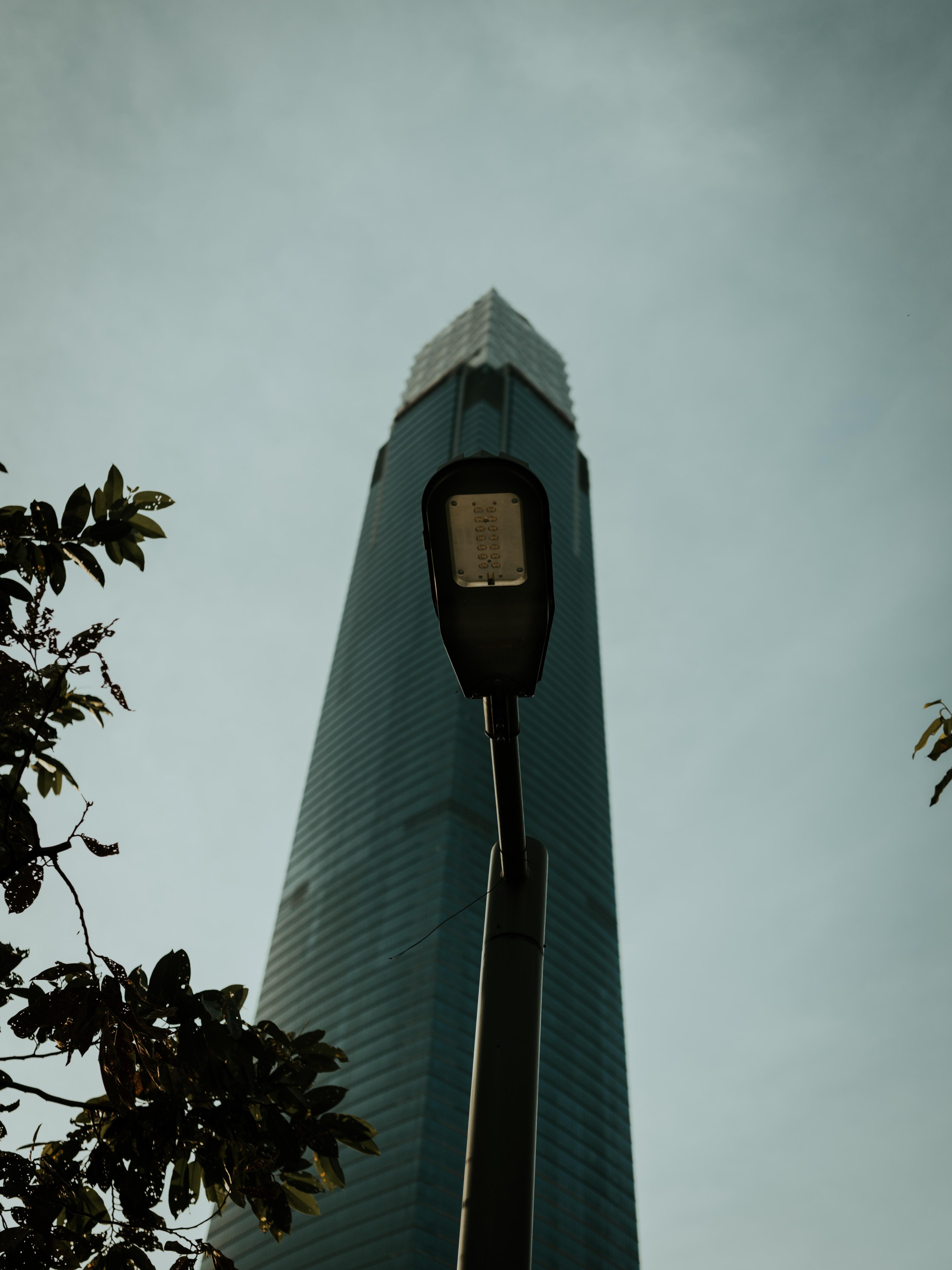 black light post near building