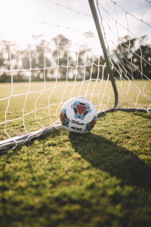 white Wilson soccer ball beside net goal