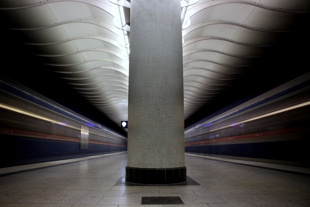 train station empty in time lapse photography