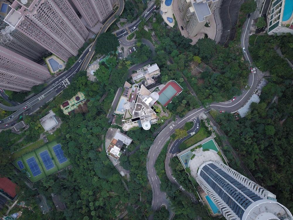 birds-eye view photo of city buildings