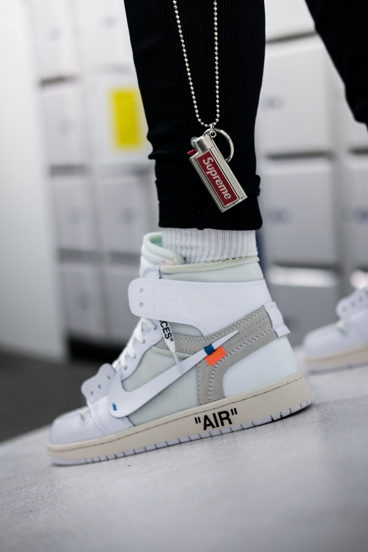 person wearing Nike x Off-white shoe