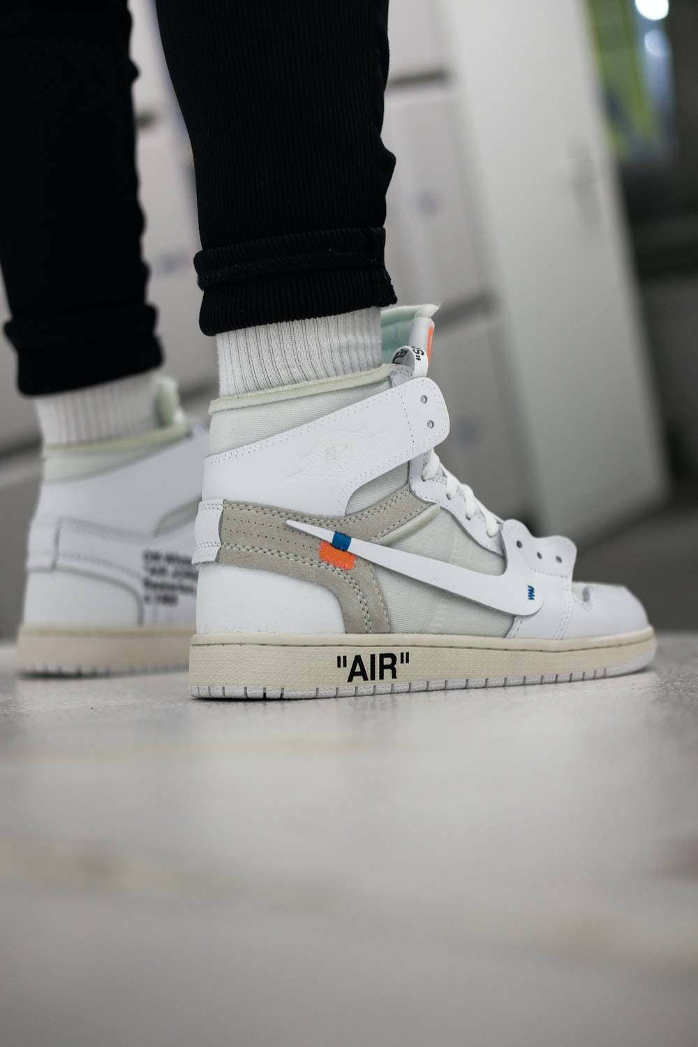 person wearing Nike x Off-white shoe
