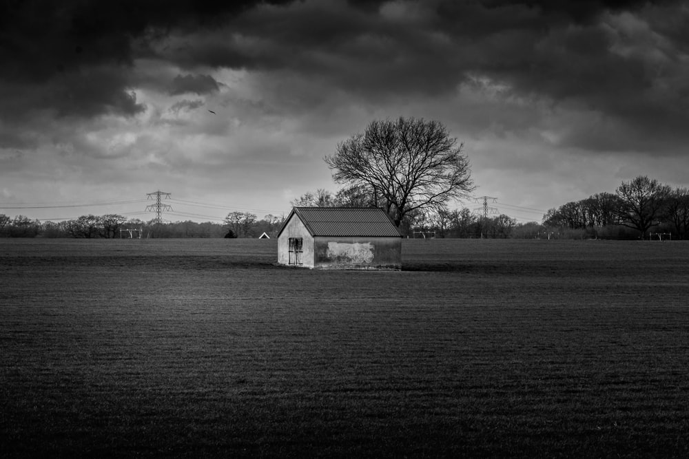 house in middle of open field greyscale photo