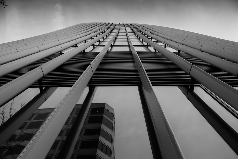 grayscale low-angle photography of curtain-wall building