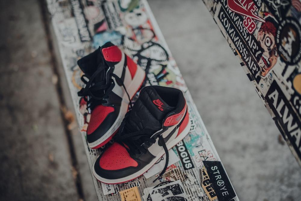 pair of Air Jordan 1's on bench
