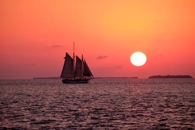 white sailboat on ocean boat teams background
