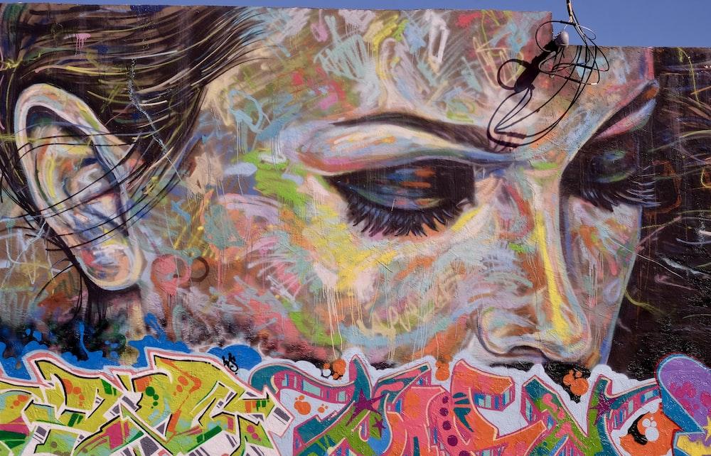woman's face multicolored graffiti