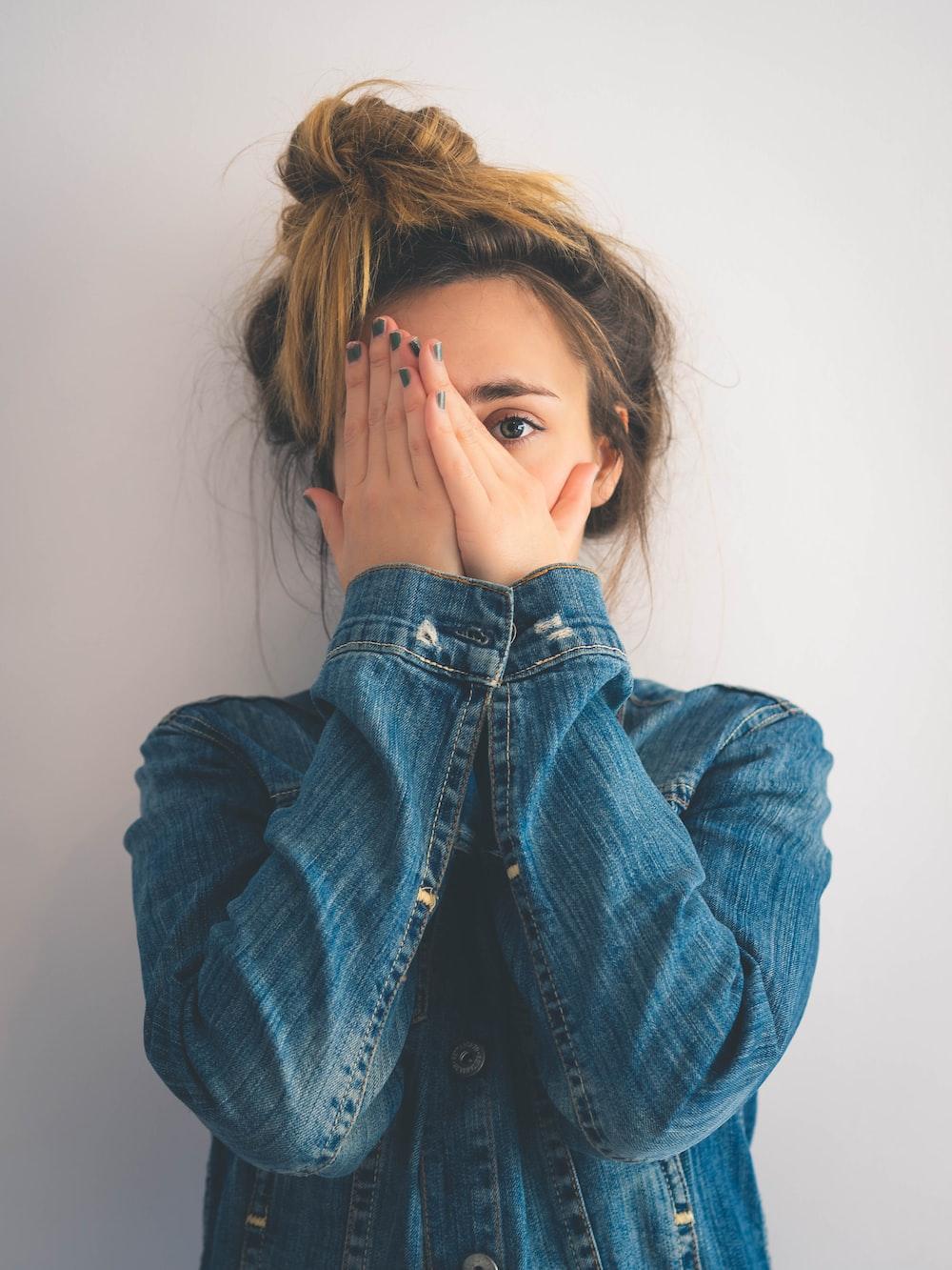 woman in blue denim jacket