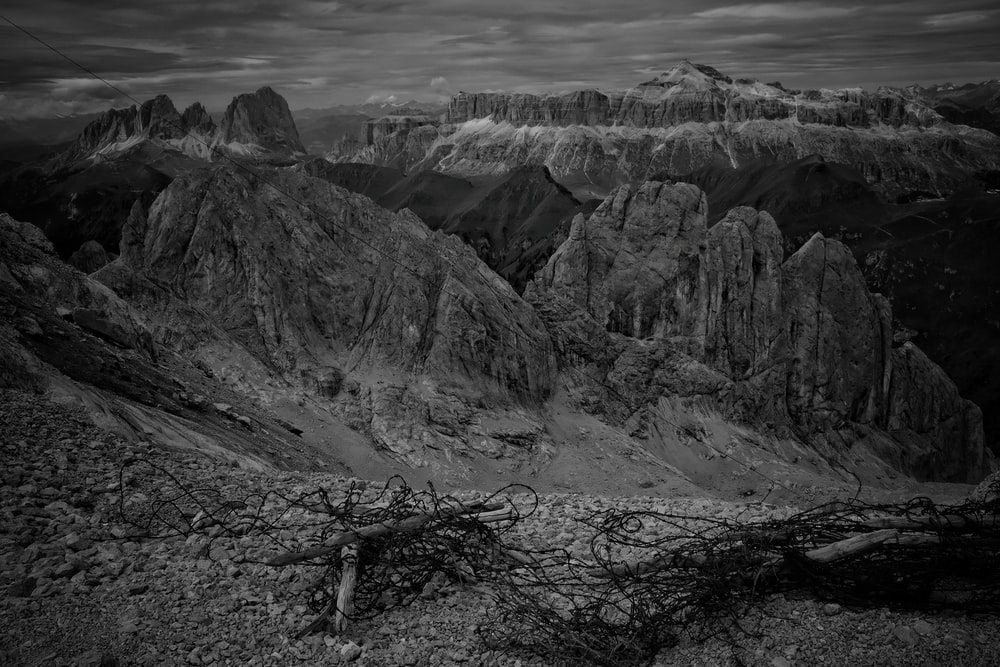 rock formation in grayscale photo