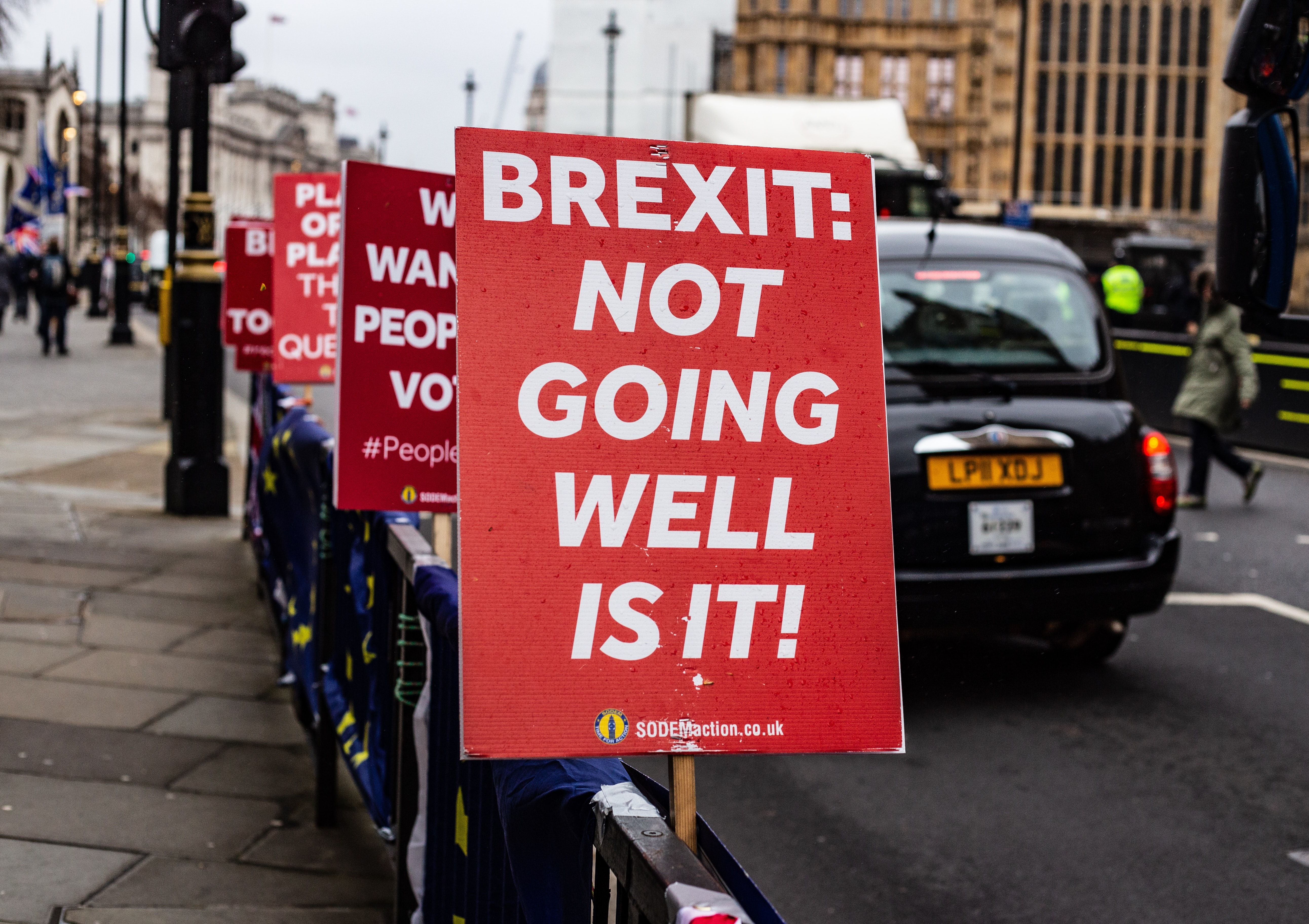 Brexit: not going well is it banner sign
