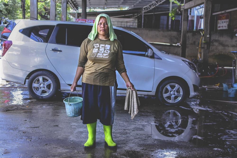 woman holding bucket
