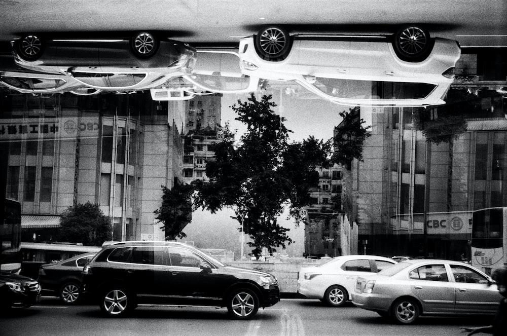 gryascale photography of cars