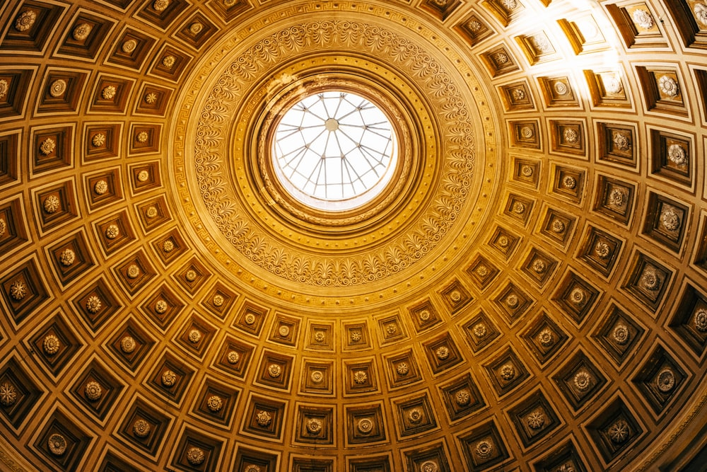 yellow and clear glass dome ceiling