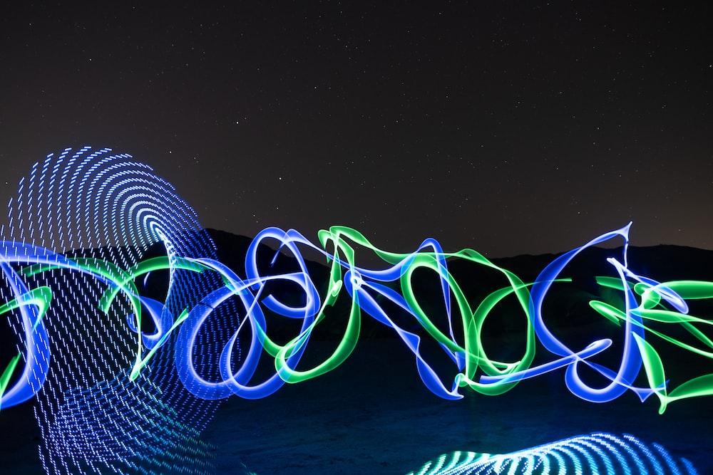 blue and green light artwork