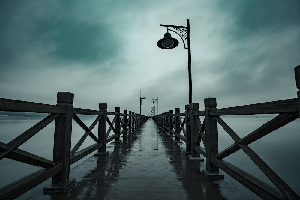 long exposure photography of dock